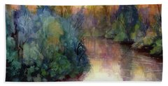 Beach Towel featuring the painting Evening On The Willamette by Steve Henderson