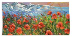 Beach Towel featuring the painting Evening Poppies  by Dmitry Spiros