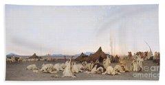 Evening Prayer In The Sahara Beach Towel