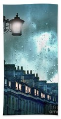 Evening Rainstorm In The City Beach Towel by Jill Battaglia