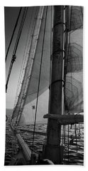 Evening Sail Bw Beach Towel