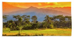 Beach Towel featuring the photograph Evening Scene by Charuhas Images