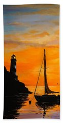 Beach Towel featuring the painting Evening Serenity by Alan Lakin