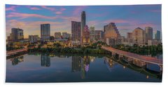 Evening Skyline Of Austin, Texas 7-4 Beach Towel