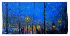 Evening Street Market Paris Beach Sheet by Joe Gilronan