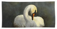 Beach Towel featuring the painting Evening Swan by Phyllis Howard