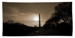Evening Washington Monument Silhouette Beach Towel