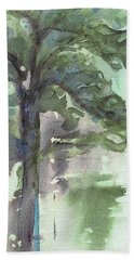 Beach Towel featuring the painting Evergreen by Dawn Derman