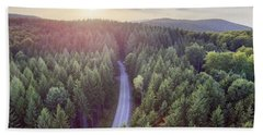 Evergreen Forest From Above Beach Towel