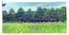 Evergreen Lake - Impressionism Beach Sheet