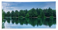 Evergreen Lake Reflections Beach Towel