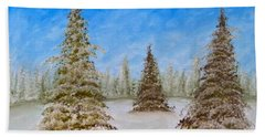 Evergreens In Snowy Field Enhanced Colors Beach Sheet