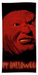 Evil Pumpkin Card Beach Towel