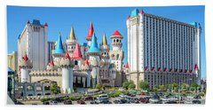 Excalibur Casino From The North 2 To 1 Ratio Beach Towel by Aloha Art