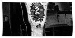 Expired Vintage Parking Meter Black And White Beach Towel