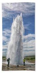 Exploding Geyser In Iceland Beach Sheet