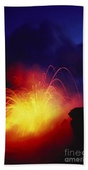 Exploding Lava And Person Beach Towel