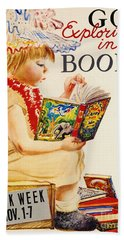 Beach Towel featuring the photograph Exploring Books 1961 by Padre Art