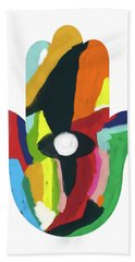Beach Towel featuring the mixed media Expressionist Hamsa- Art By Linda Woods by Linda Woods