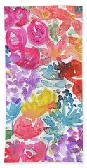 Expressionist Watercolor Garden- Art By Linda Woods Beach Towel
