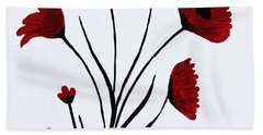 Beach Towel featuring the painting Expressive Abstract Poppies A61216b_e by Mas Art Studio