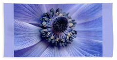 Expressive Blue And Purple Floral Macro Photo 706 Beach Sheet