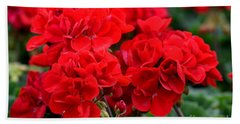 Beach Towel featuring the painting Expressive Floral Red Geraniums E131716  by Mas Art Studio