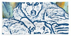 Beach Towel featuring the painting Expressive Huskies Mixed Media F51816 by Mas Art Studio