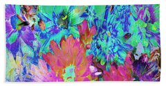 Beach Towel featuring the painting Expressive Digital Still Life Floral B721 by Mas Art Studio