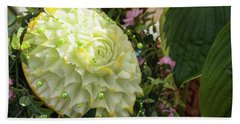 Extravagant Jeweled Dishes - Carved Melon Flower With Green Pearls Beach Sheet