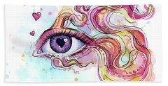 Eye Fish Surreal Betta Beach Towel by Olga Shvartsur