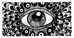Beach Towel featuring the drawing Eye Of March by Nada Meeks