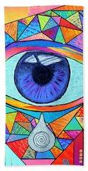 Eye With Silver Tear Beach Towel by Jeremy Aiyadurai