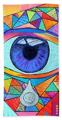 Eye With Silver Tear Beach Towel