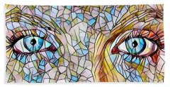 Eyes Of A Goddess - Stained Glass Beach Towel