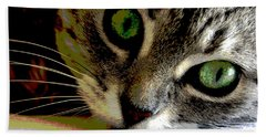 Eyes Of The Cat Beach Towel by Charles Shoup