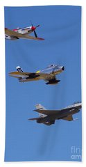 F-16 P-51d F-86 Heritage Flight- Flyby Beach Towel