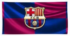 F. C. Barcelona - 3d Badge Over Flag Beach Towel
