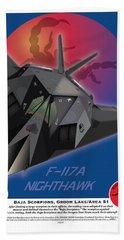 F117a Nighthawk Beach Towel by Kenneth De Tore