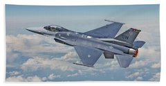 Beach Towel featuring the digital art F16 - Fighting Falcon by Pat Speirs