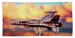 Beach Towel featuring the photograph F16c Fighting Falcon by Chris Lord