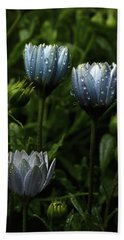 Fabulously Beautiful Blue Flowers With Raindrops Beach Towel