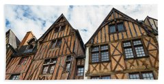 Facades Of Half-timbered Houses In Tours, France Beach Towel