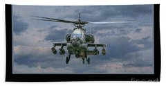 Face Of Death Ah-64 Apache Helicopter Beach Towel by Randy Steele