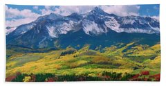Facinating American Landscape Flowers Greens Snow Mountain Clouded Blue Sky  Beach Towel