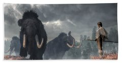 Beach Towel featuring the digital art Facing The Mammoths by Daniel Eskridge