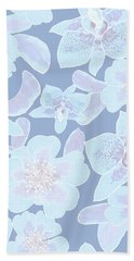 Faded Blue Spotted Orchids Beach Towel