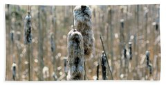 Faded Cattails Beach Towel