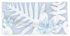 Beach Towel featuring the digital art Faded Denim Fern Batik by Karen Dyson