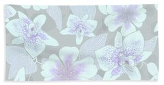 Faded Gray Spotted Orchids Beach Towel
